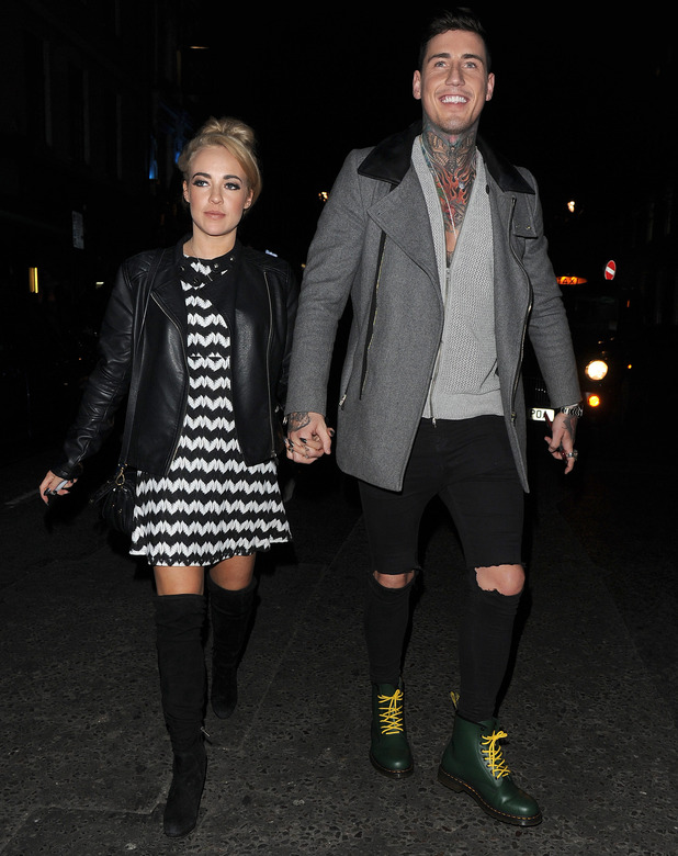 Stephanie Davis and Jeremy McConnell hold hands in London's Soho, 26 February 2016.