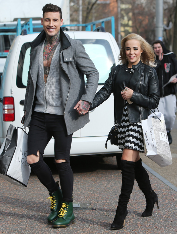 Stephanie Davis and Jeremy McConnell outside ITV studios. 26 February 2016.