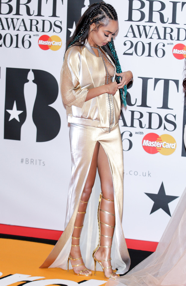 Little Mix star Leigh-Anne Pinnock reveals she designed her very own BRIT Awards red carpet dress, 25th February 2016