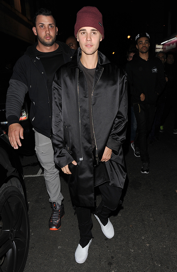 Justin Bieber makes an impromptu visit to 'The Crobar' pub in Soho, with a group of friends. The Rock N' Roll joint was a surprise choice for Bieber, who stayed for just under an hour