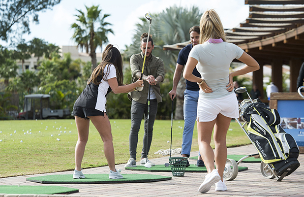 The Only Way is Essex' cast filming, Gran Canaria, Spain - 18 Feb 2016 James Lock and Peter Wicks at the driving range and are joined by Chloe Meadows and Courtney Green.