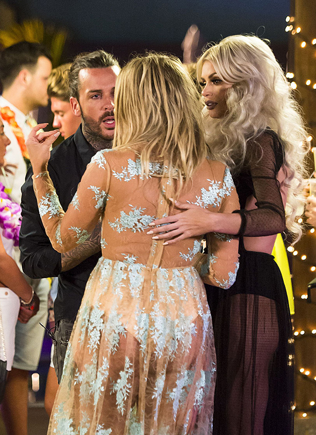 'The Only Way is Essex' cast filming, Gran Canaria, Spain - 18 Feb 2016 Heated argument between Danielle Armstrong, Peter Wicks and Chloe Sims