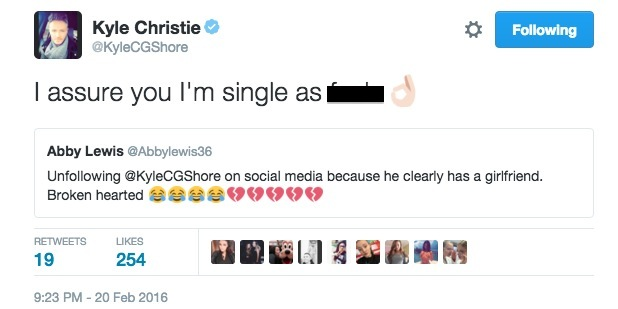 Kyle Christie tweets that he is single 20 February