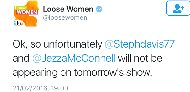 Loose Women statement on Jeremy and Stephanie appearance