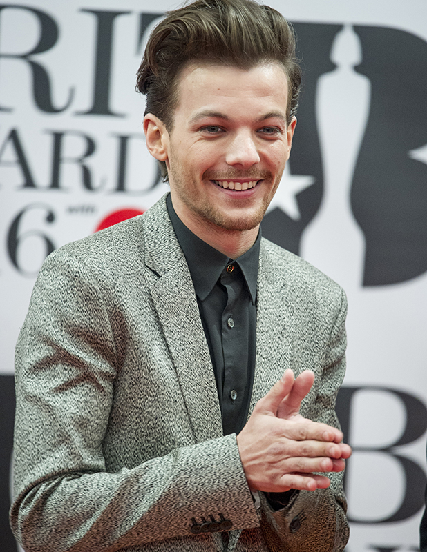 Louis Tomlinson at the Brit Awards 2016 at the O2 Arena in London. 24 February 2016