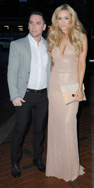 Catherine Tyldesley and husband Tom Pitford attend the Annual Mirror Ball at at The Lowry Hotel Manchester, 4 March 2016.