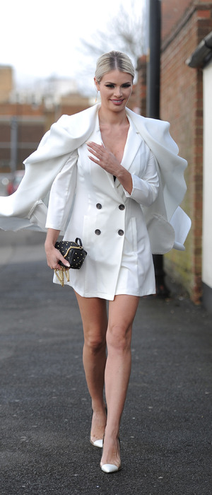 TOWIE star Chloe Sims wears all-white outfit while filming in Essex, 2nd March 2016