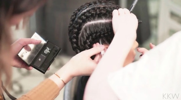 Kim Kardashian West's hairstylist using Color Wow Root Concealer on her hair in braid tutorial, 3rd March 2016