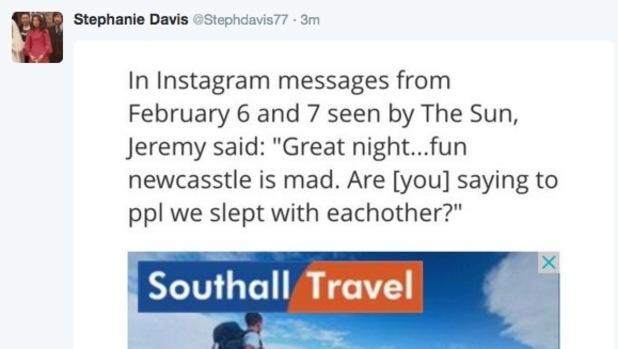 Stephanie Davis screenshots The Irish Sun - Jeremy McConnell's messages to Caroline Pope 3 March
