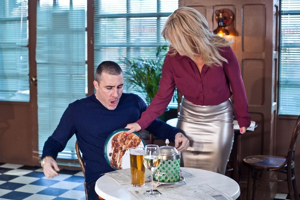 Hollyoaks, Grace pours her dinner on Trevor, Fri 4 Mar