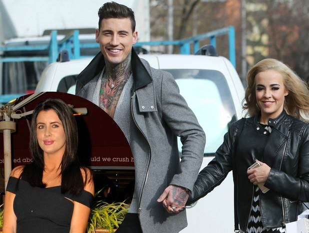 Helen Wood inset and Stephanie Davis and Jeremy McConnell outside ITV studios.