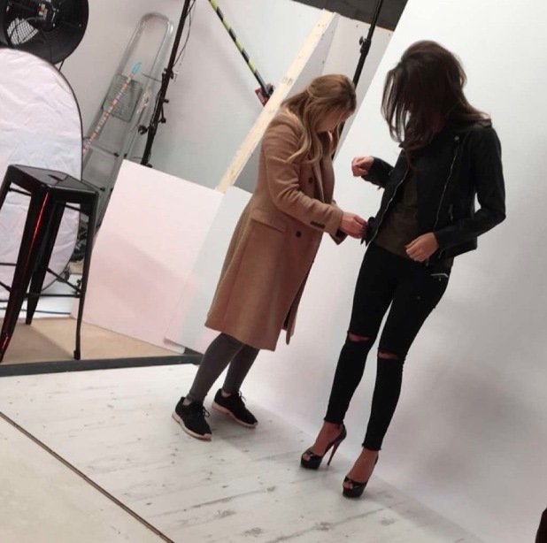 Ex On The Beach's Megan McKenna shares behind the scenes pictures from Miss Pap shoot, black jeans London 3rd March 2016