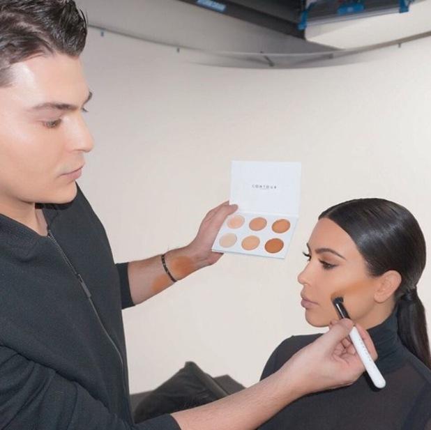 Make-up artist Mario Dedivanovic uses Contour Cosmetics palette on Kim Kardashian, 2nd March 2016