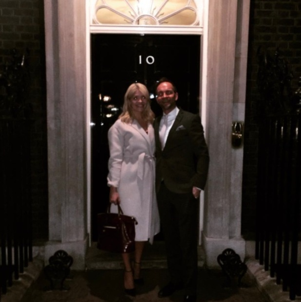 Holly Willoughby and husband pose outside No.10 Downing Street, 2nd March 2016