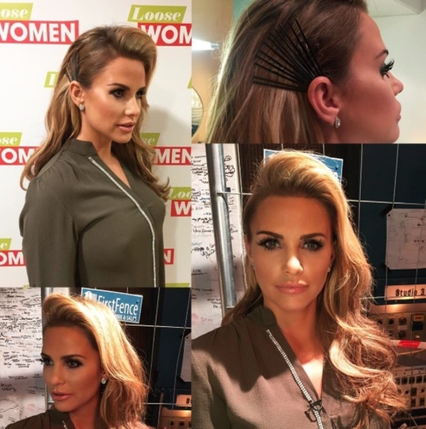 Katie Price shows off her bobby pin-laden hairstyle on Loose Women, courtesy of hairdresser Mikey Kardashian, 1st March 2016