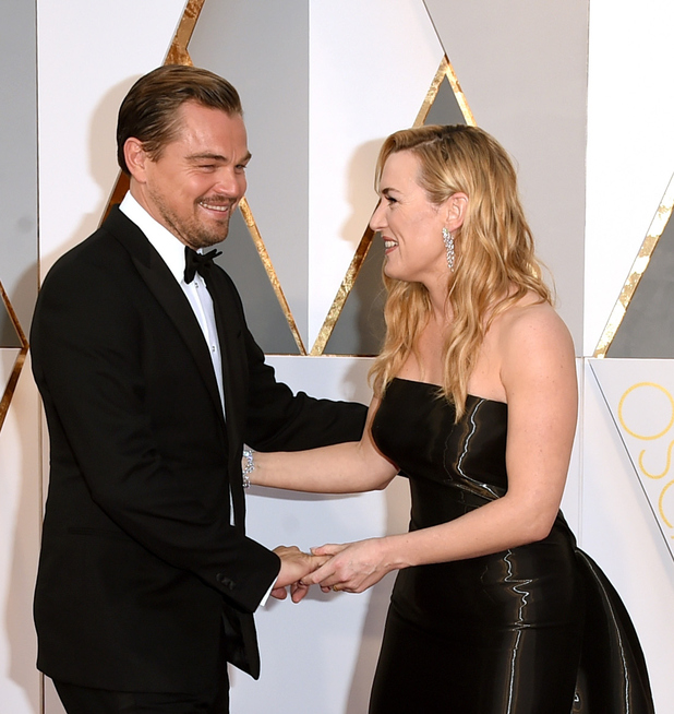 Leonardo DiCaprio (L) and Kate Winslet attend the 88th Annual Academy Awards at Hollywood & Highland Center on February 28, 2016 in Hollywood, California.
