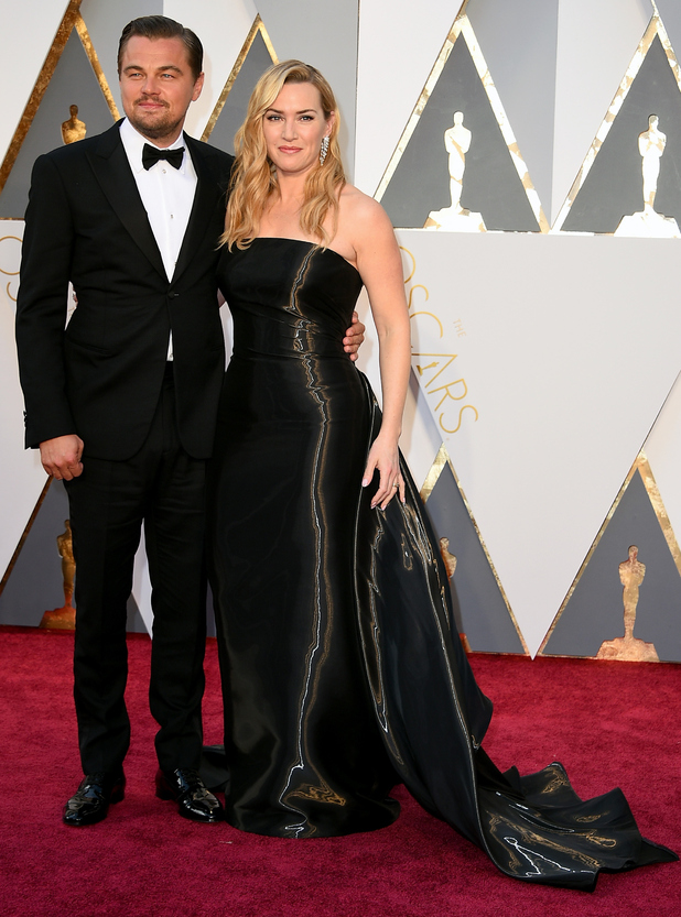 Leonardo DiCaprio (L) and actress Kate Winslet attend the 88th Annual Academy Awards at Hollywood & Highland Center on February 28, 2016 in Hollywood, California.