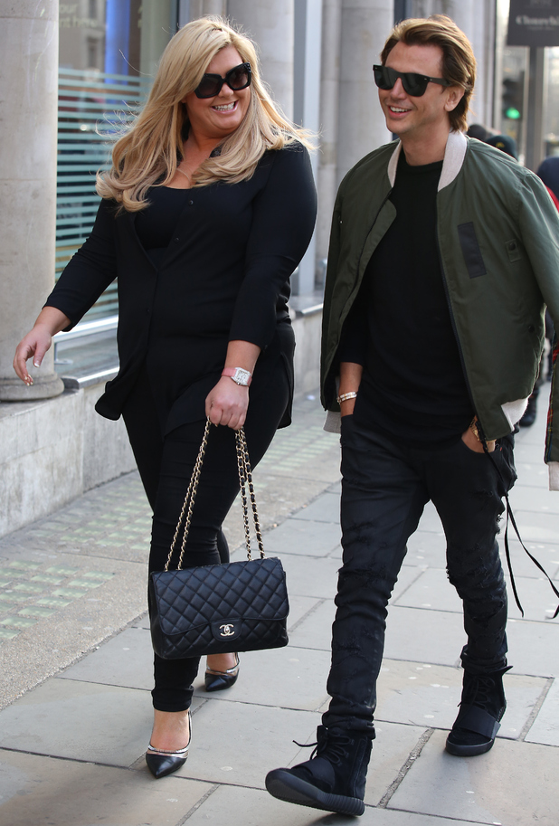 Gemma Collins and Jonathan Cheban seen shopping at Harrods on February 29, 2016 in London, England.