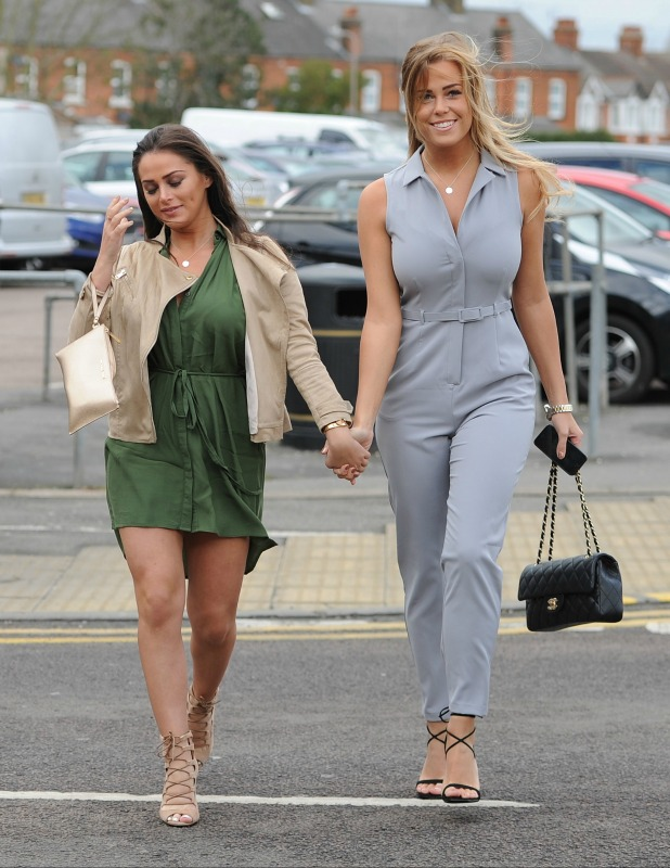 'The Only Way Is Essex' cast arrive for filming at Sugar Hut Chloe Meadows and Courtney Green