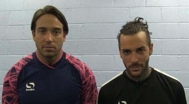 TOWIE: James 'Lockie' Lock and Pete Wicks speak post football match.