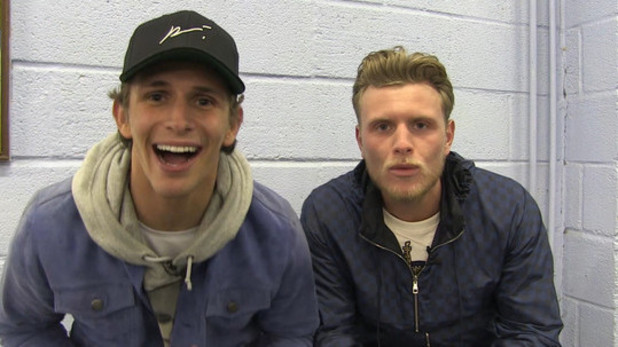TOWIE: Jake Hall and Tommy Mallet speak post football match.