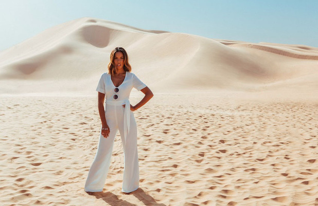 Rochelle Humes unveils new Very.co.uk drop via stunning campaign images shot in Dubai, white jumpsuit 9th March 2016