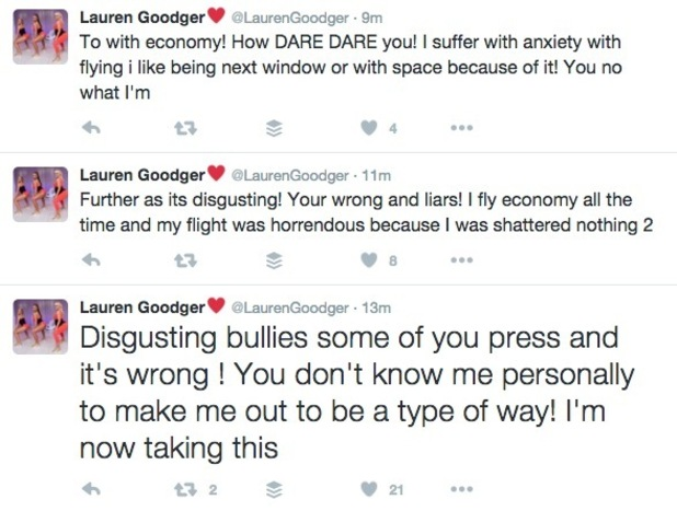 Lauren Goodger's tweets hitting back at claims she has a problem with flying economy 8 March