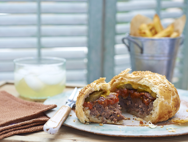 The Pieburger - picture to accompany the recipe celebrating British Pie Week (March 7-March14 2016).