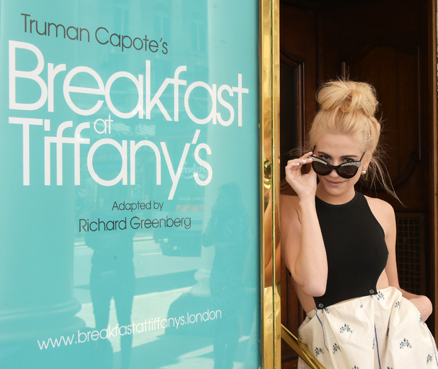 Pixie Lott, announced to star as Holly Golightly in the 2016 Curve co-production of 'Breakfast at Tiffany's' in London's West End and UK Tour, poses at the Theatre Royal Haymarket on June 4, 2015 in London, England.