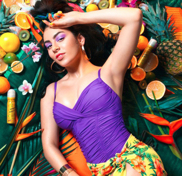 Singer Charli XCX launches new Impulse fragrance, Why Not? and stars in jungle campaign, purple body, tropical shorts, 10th March 2016