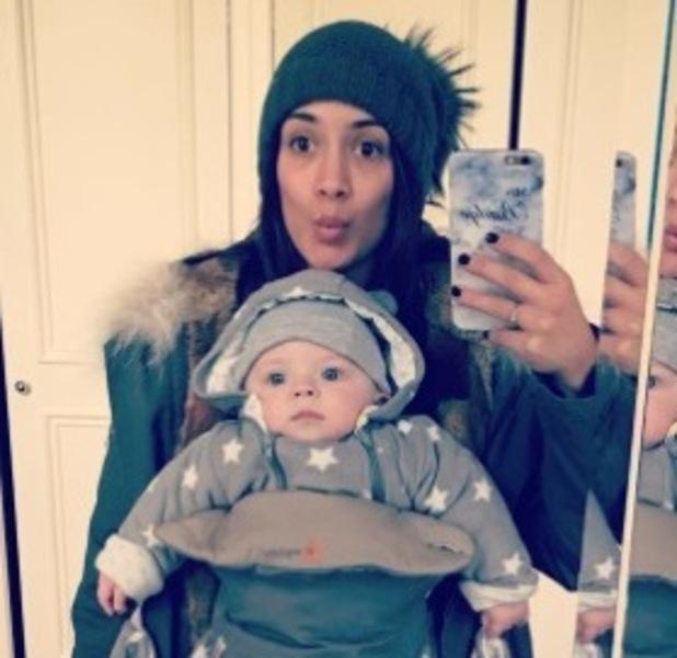 Frankie Bridge with baby Carter, London, 2016