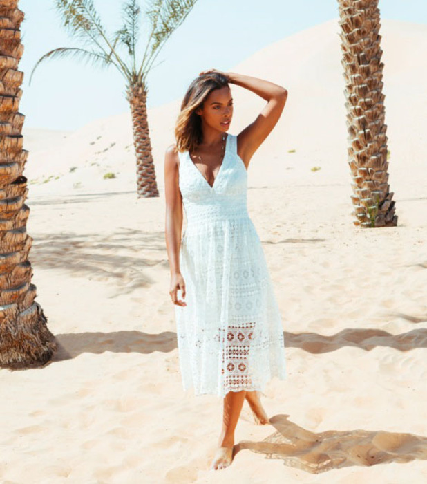 Rochelle Humes unveils new Very.co.uk drop in stunning campaign images which were shot in Dubai, blue cotton dress, 9th March 2016