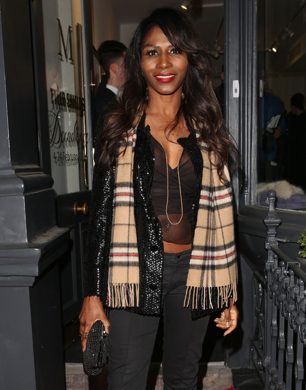Sinitta at the private view of Tyler Shields: Decadence at Maddox Gallery in London. 3 February 2016.