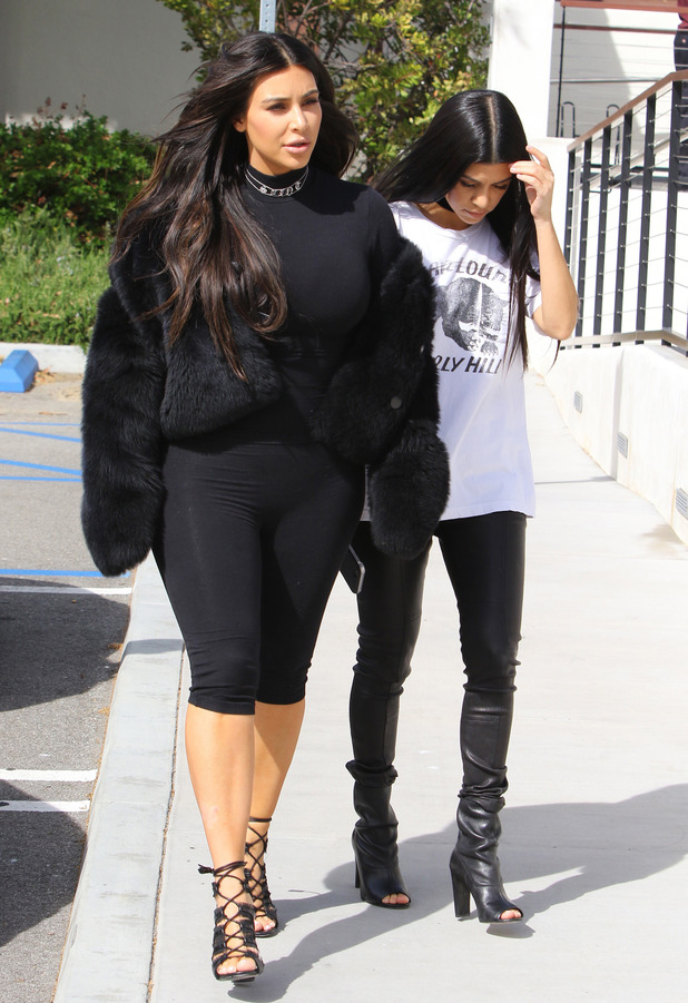 Kim Kardashian and Kourtney Kardashian filming in Los Angeles, 9th March 2016