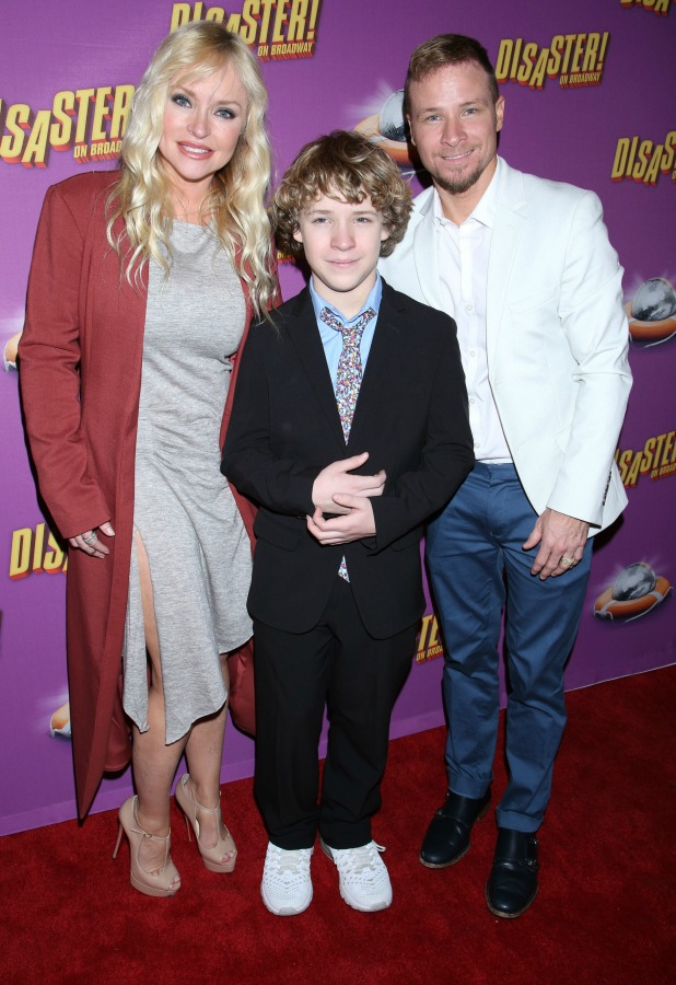 Opening night party for the Broadway musical Disaster at the Hard Rock Cafe - Arrivals. Brian Littrell, wife Leighanne and son Baylee