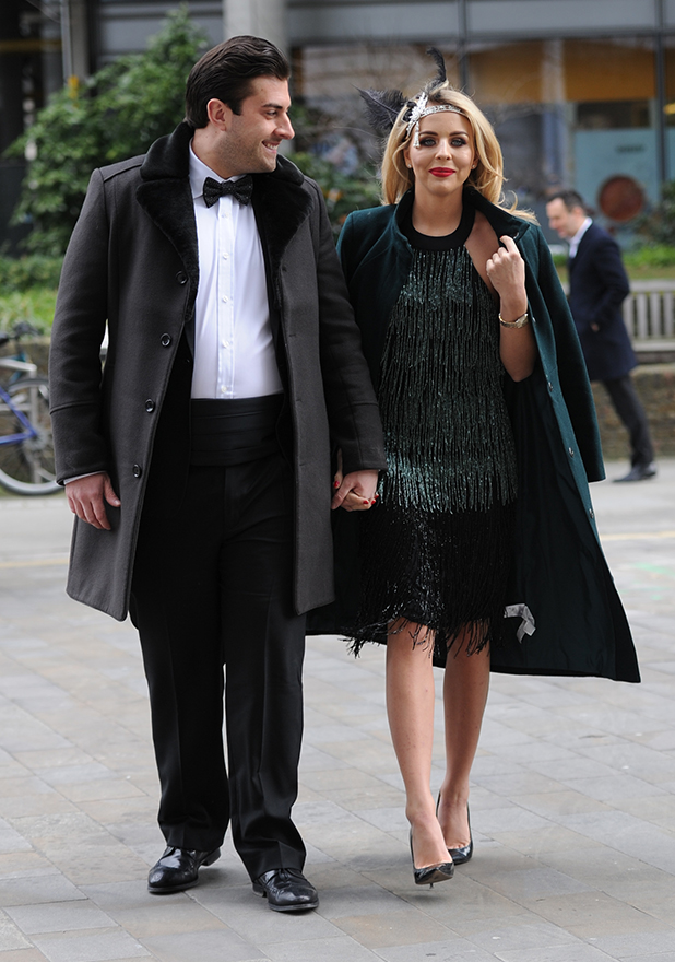TOWIE cast arrive in costume for the filming of 'The Great Gatsby' in London Arg and Lydia Bright