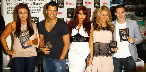 Lauren Goodger, Mark Wright, Amy Childs, Sam Faiers, Kirk Norcross 'The Only Way Is Essex' cast promote and sign copies of their new DVD at HMV in Lakeside mall. Essex, England - 28.03.11