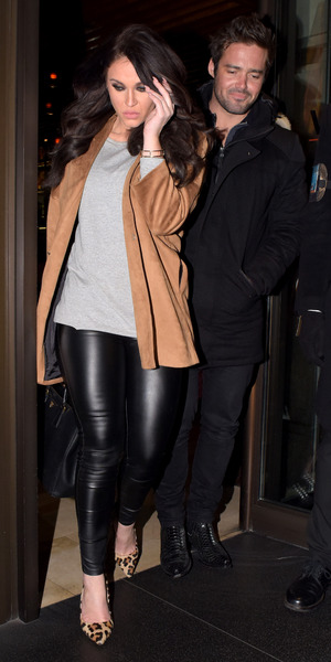 Vicky Pattison and Spencer Matthews leaving Novikov restaurant in London 16 March