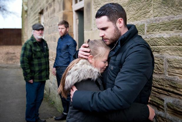 Emmerdale, Aaron comforts Liv, Thu 17 Mar