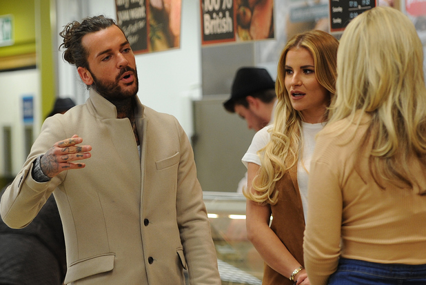 Georgia Kousoulou, Danielle Armstrong and Kate Wright are seen shopping in Tesco where they bump into Pete Wicks as they film scenes for TOWIE