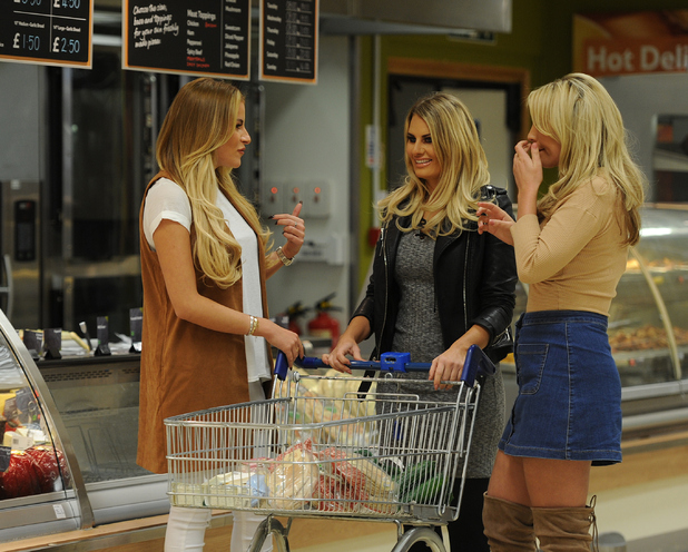 Georgia Kousoulou, Danielle Armstrong and Kate Wright are seen shopping in Tesco and where they bump into Pete Wicks as they film scenes for TOWIE.