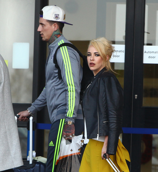 Stephanie Davis and Jeremy McConnell at airport - Manchester - 11 March 2016.