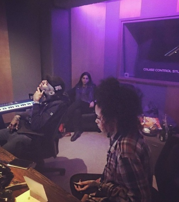 X Factor star Tamera Foster in the recording studio with Chris Brown. March 2016.