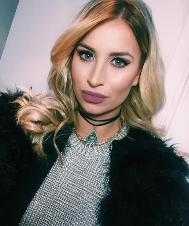 Former TOWIE star Ferne McCann posts selfie to Instagram in which she is wearing Makeup Monsters Matte Liquid Lipstick in Wolfsbane, £15.50, 15th March 2016