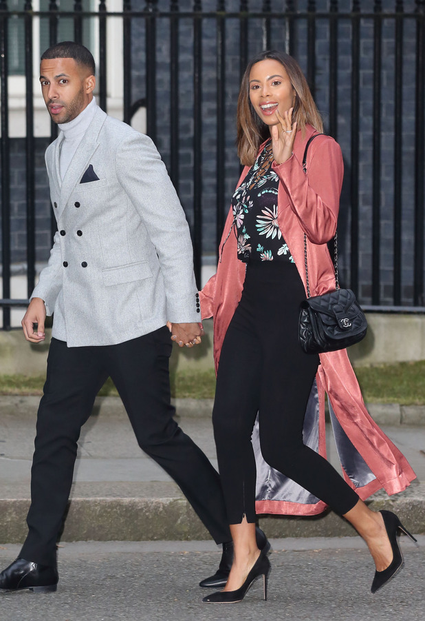 Rochelle Humes and Marvin Humes photographed outside No.10 Downing Street, 15th March 2016