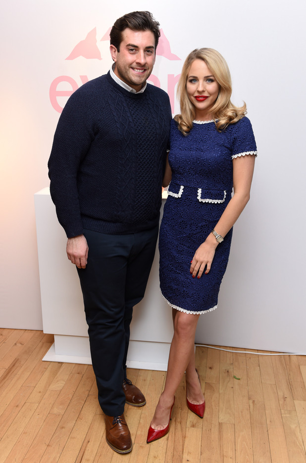 TOWIE's James 'Arg' Argent and Lydia Bright at the Evian launch party, Liberty London, Britain - 15 Mar 2016.