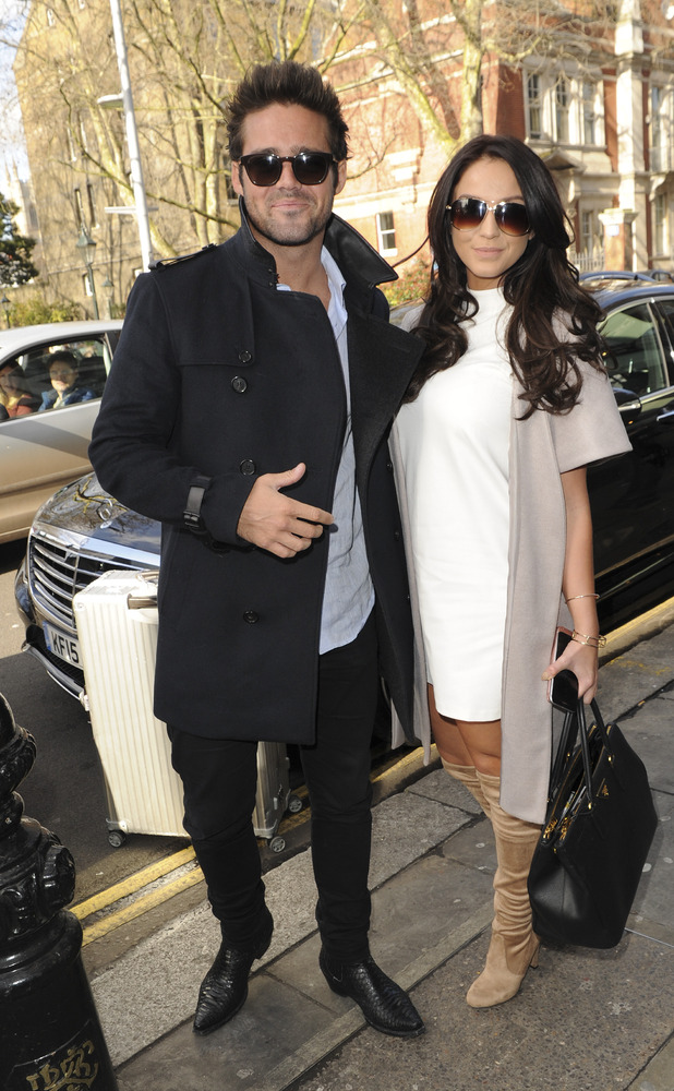 Spencer Matthews and Vicky Pattison leave restaurant The Ivy Chelsea Garden, 25 March 2016.