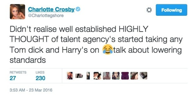 Charlotte Crosby hits out at Lillie Lexie Gregg on Twitter 23 March