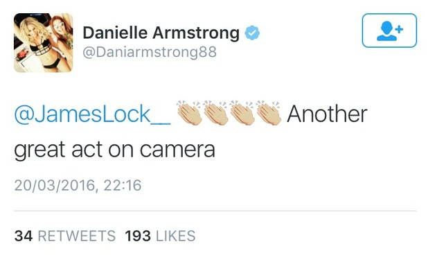 TOWIE's Danielle tweets about her scene with Lockie.