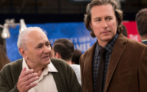 My Big Fat Greek Wedding 2 film still: Gus (Michael Constantine) and Ian (John Corbett)